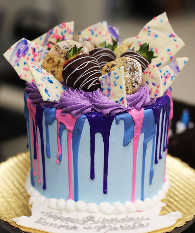 Magnificent Purple And Pink Drip Cake Funny Birthday Cards Online Sheoxdamsfinfo