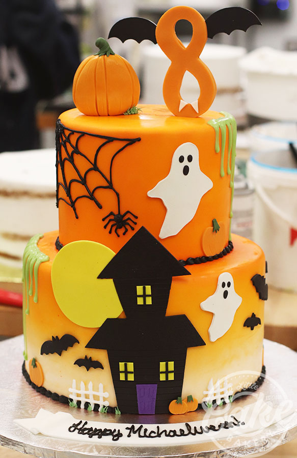 Pleasing Cute Halloween Themed 8Th Birthday Cake Funny Birthday Cards Online Inifodamsfinfo