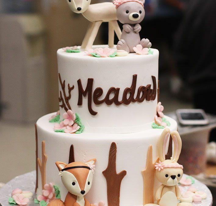 Swell Baby Woodland Animals Themed First Birthday Baby Shower Cake Funny Birthday Cards Online Amentibdeldamsfinfo